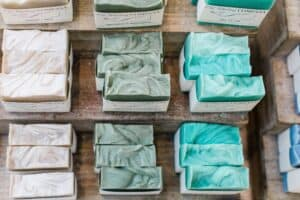 Bar soaps lined up and packaged