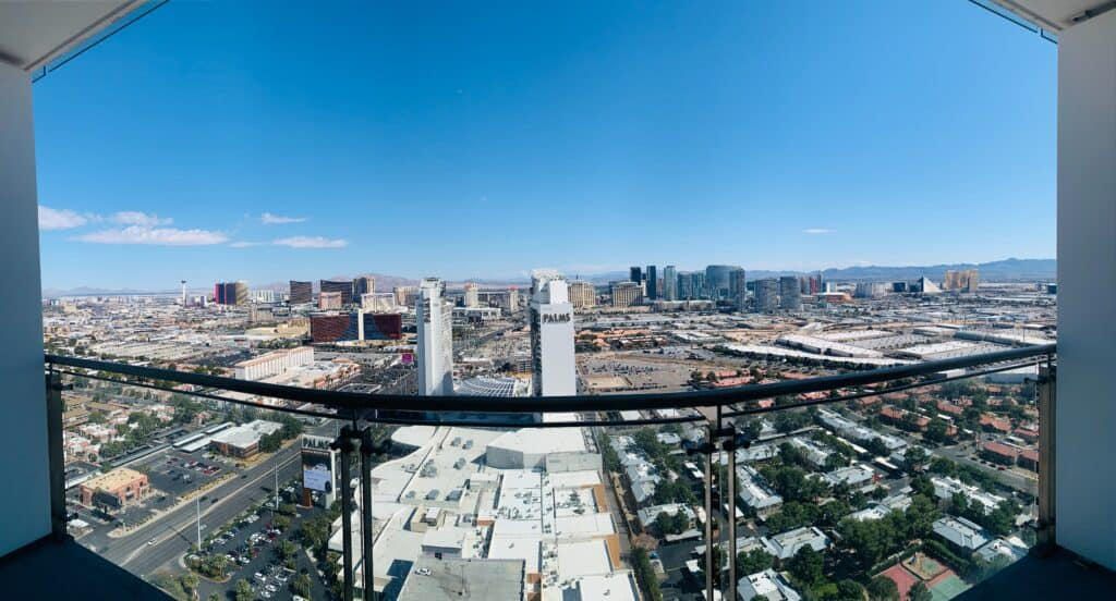 balcony looking over las vegas