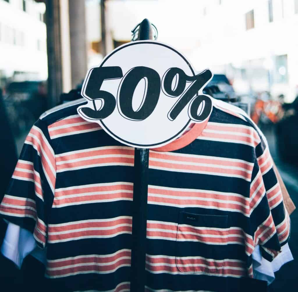 striped shirt on 50% off sale rack