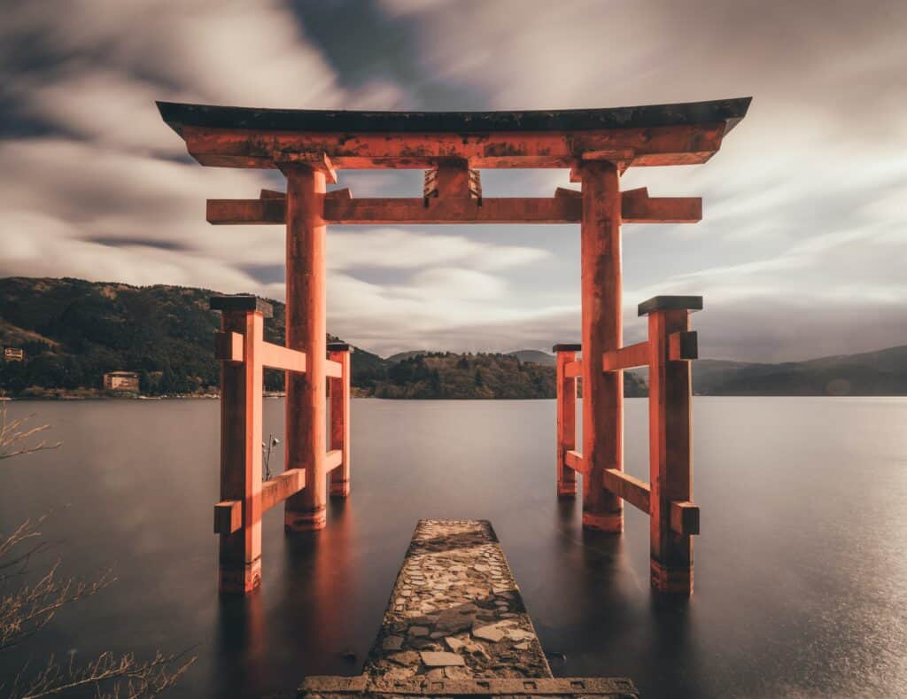 Torii overlooking a lake