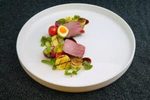 small plate of food on white plate