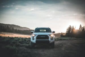 Front of toyota truck on dirt road
