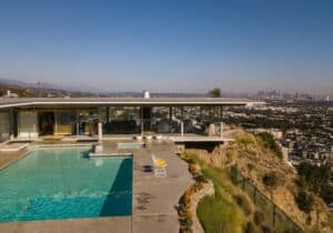 mid-century home on top of hill overlooking Los Angeles, California