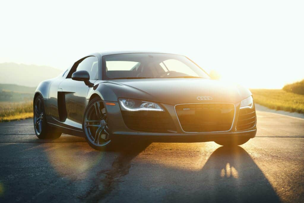 audi r8 on open road