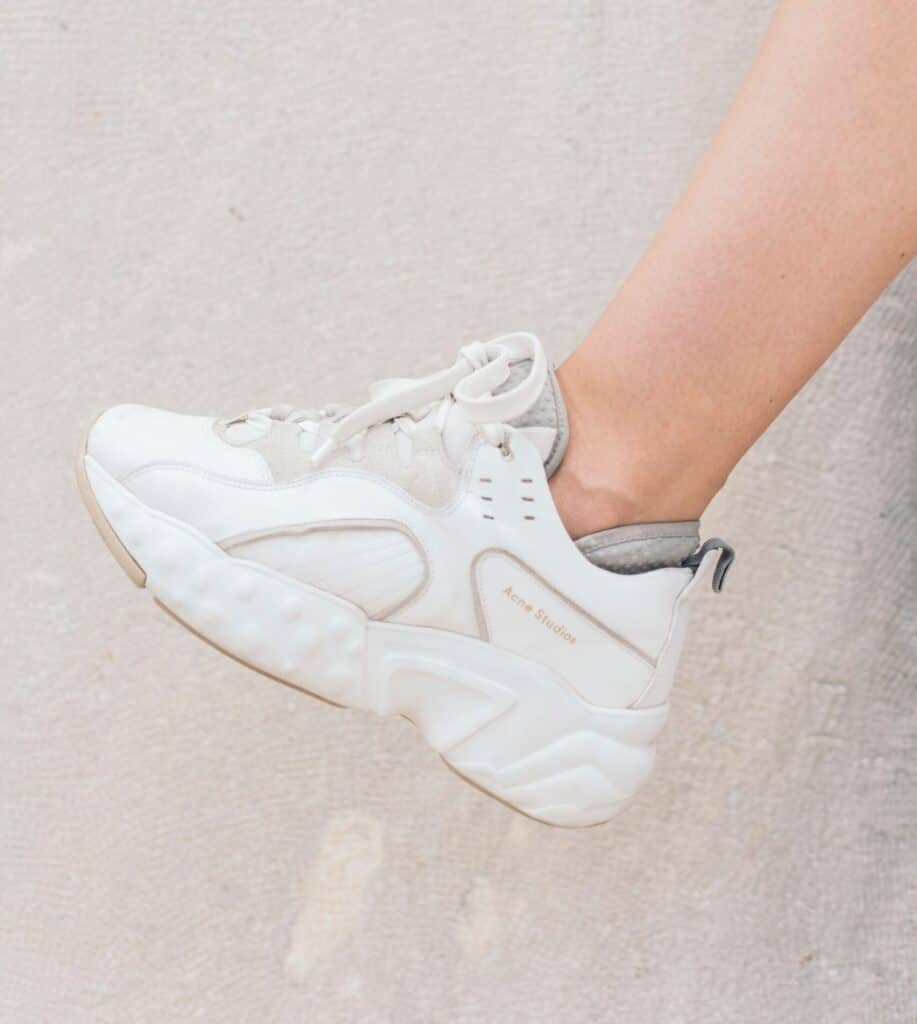 girl wearing chunky white sneaker