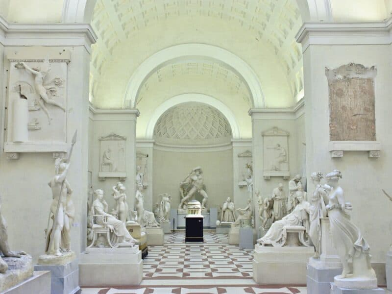 shot of museum in Italy with white marble statues