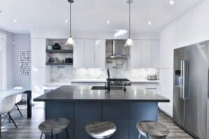 two tone grey and navy blue kitchen