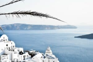 view of greece with ocean in background