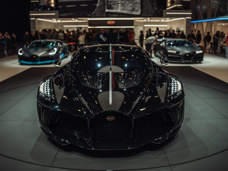 Bugatti La Voiture Noire on showroom floor