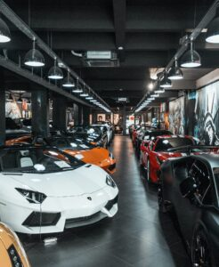 row of lamborghinis in different colors
