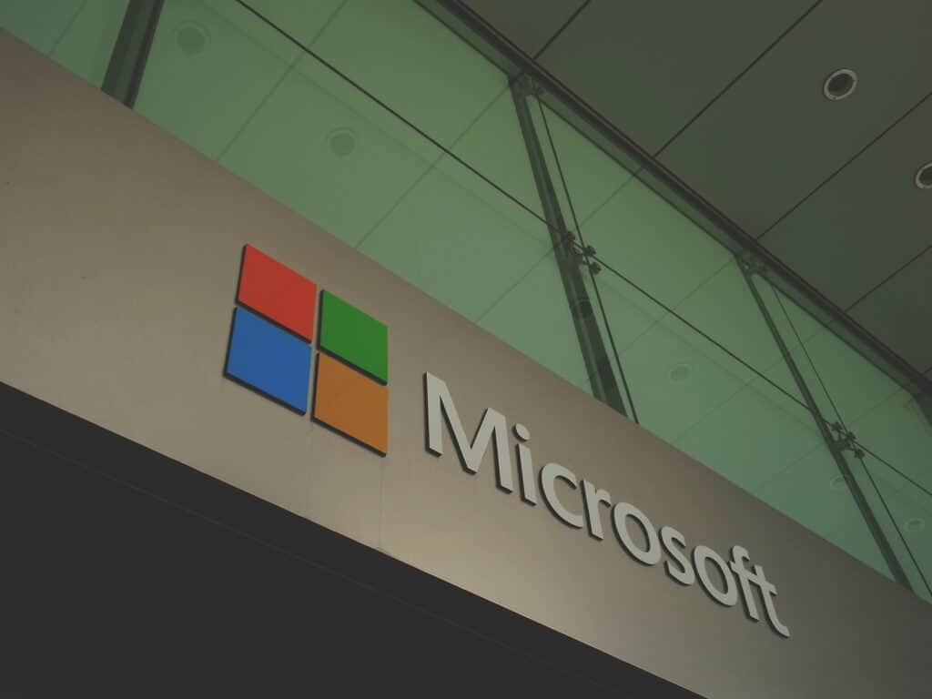 microsoft logo on side of building