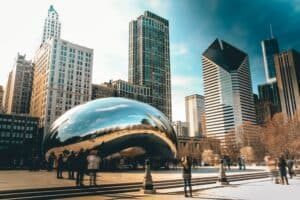 shot of Cloud Gate in chicago