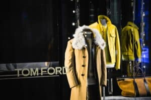 mannequins in window of Tom Ford store