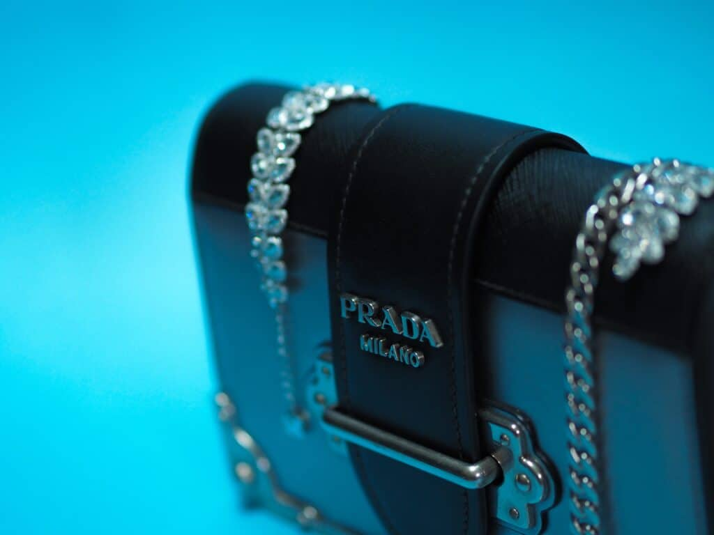 close up of prada handbag