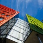 shot of colorful office buildings