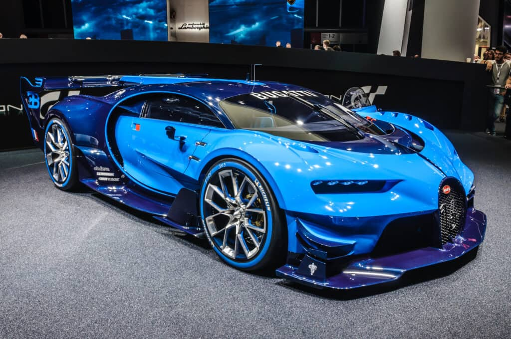 blue Bugatti Chiron on showroom floor