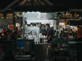 Singapore food stall at night