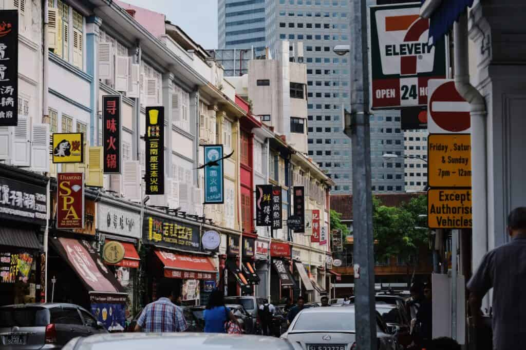 crowded street in Singapore
