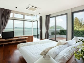hotel suite with view of ocean