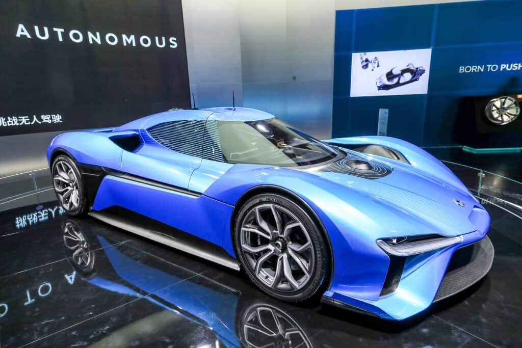 Blue NIO EP9 on showroom floor
