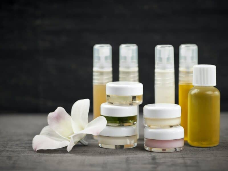 bottles of skin care products