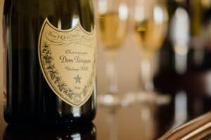 Close up of Don Perignon bottle of champagne