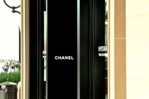 Black storefront with Chanel logo in white font