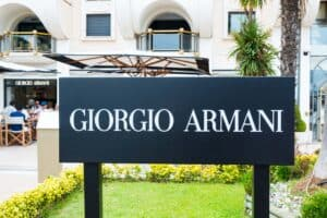 Giogio Armani sign in front of store