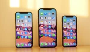 lineup of iphone 12, iphone 12 pro, and iphone 12 mini