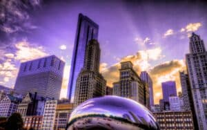 Shot of downtown chicago and silver bean at sunset