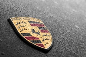 close up of Porsche logo
