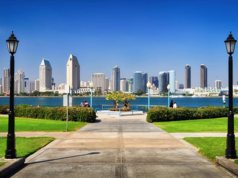 shot of downtown San Diego on waterfront
