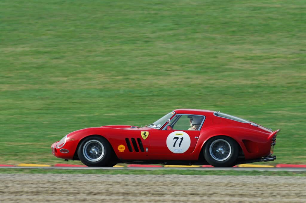 red Ferrari GTO 250 on race track