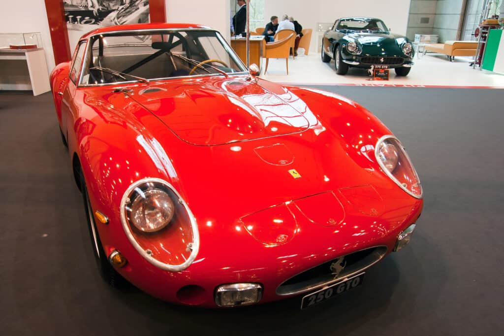 red ferrari GTO 250 on showroom floor