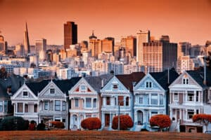 Painted ladies in san francisco at sunset