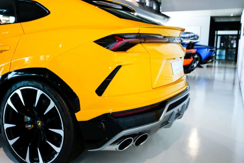 back of yellow Lamborghini Urus
