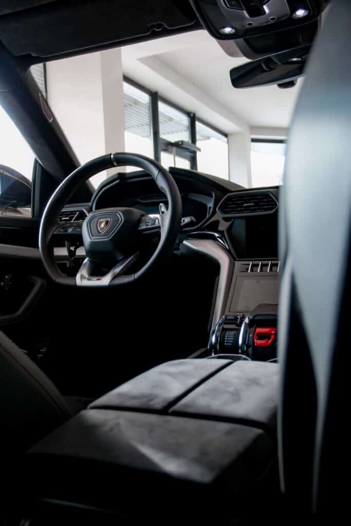 Inside view of drivers seat in Lamborghini URUS