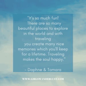 """quote box that says """"It's so much fun! There are so many beautiful places to explore in the world and with traveling you create many nice memories which you'll keep for a lifetime. Traveling makes the soul happy."""""""