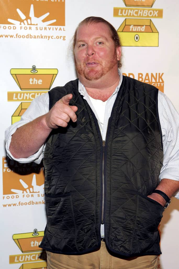 Mario Batali pointing at the camera