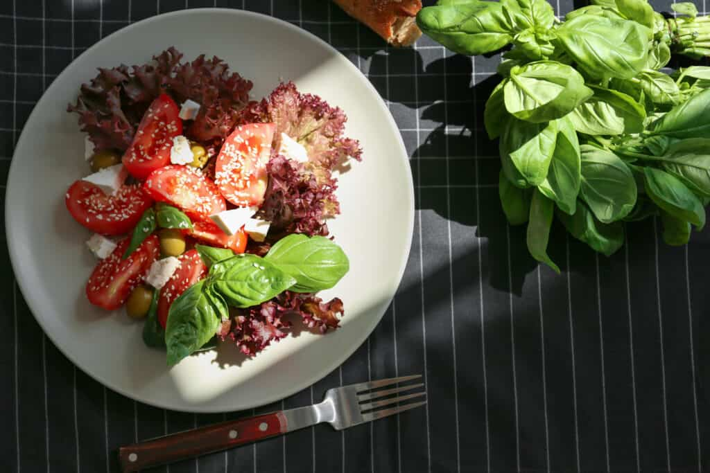 Plate of tomato salad with sun ray on table