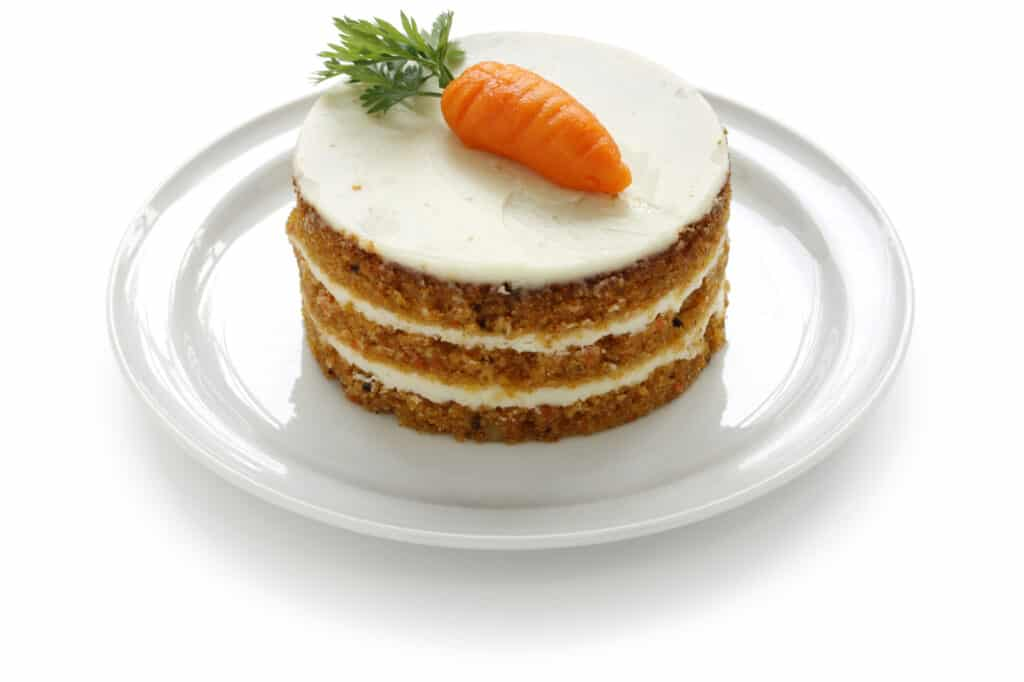 Carrot cake sitting on a plate