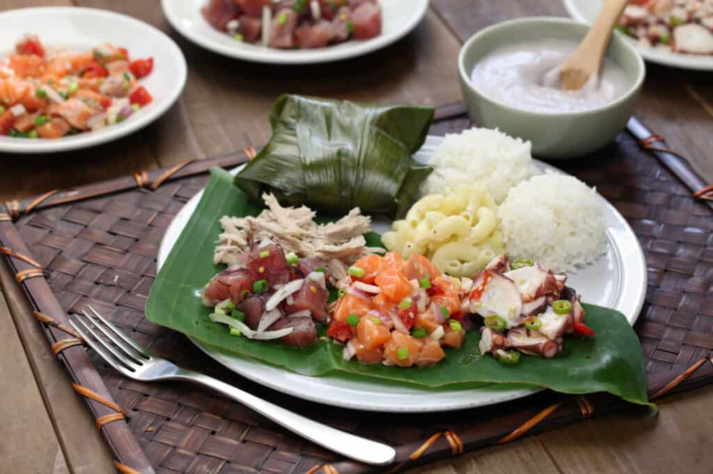 Plate of traditional Hawaiian lunch