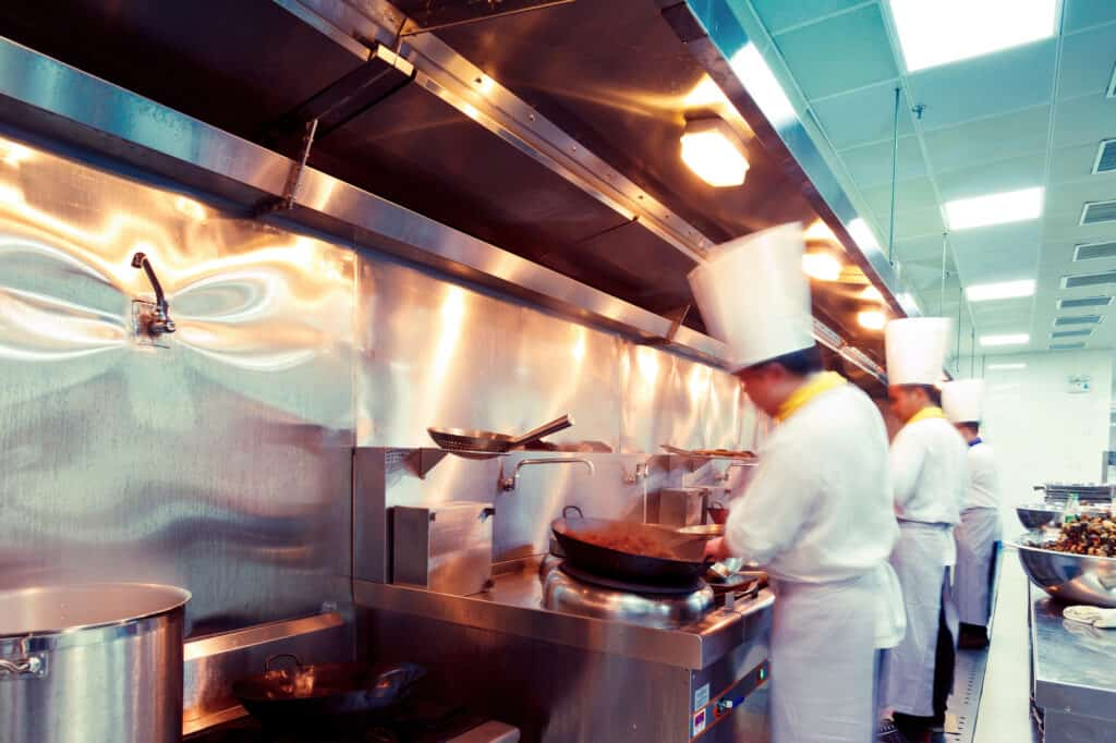 chefs working in a professional kitchen