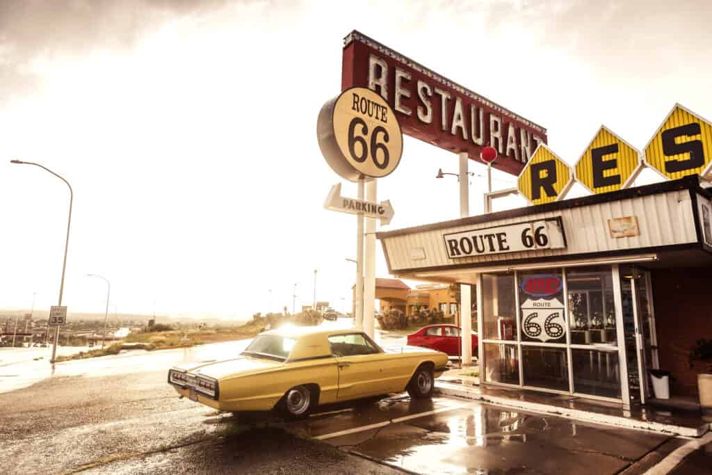 Outside of a diner off Route 66 in Texas