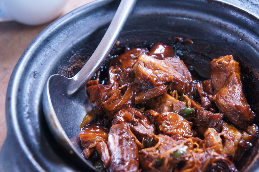 close up view of meat stew in a bowl
