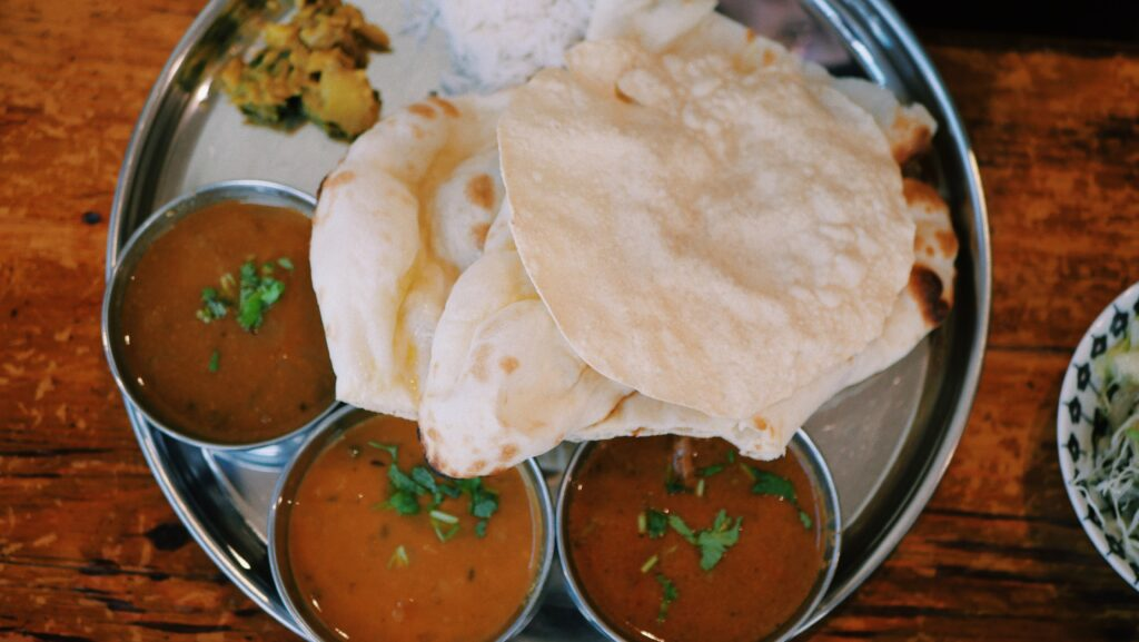 Plate of Indian bread and curry