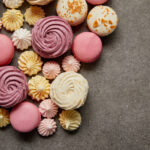 Top view of assorted macaroons in different colors