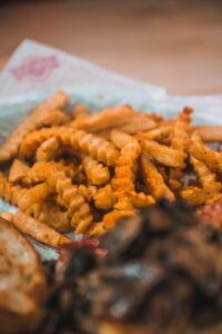 close up view of fries in a backet