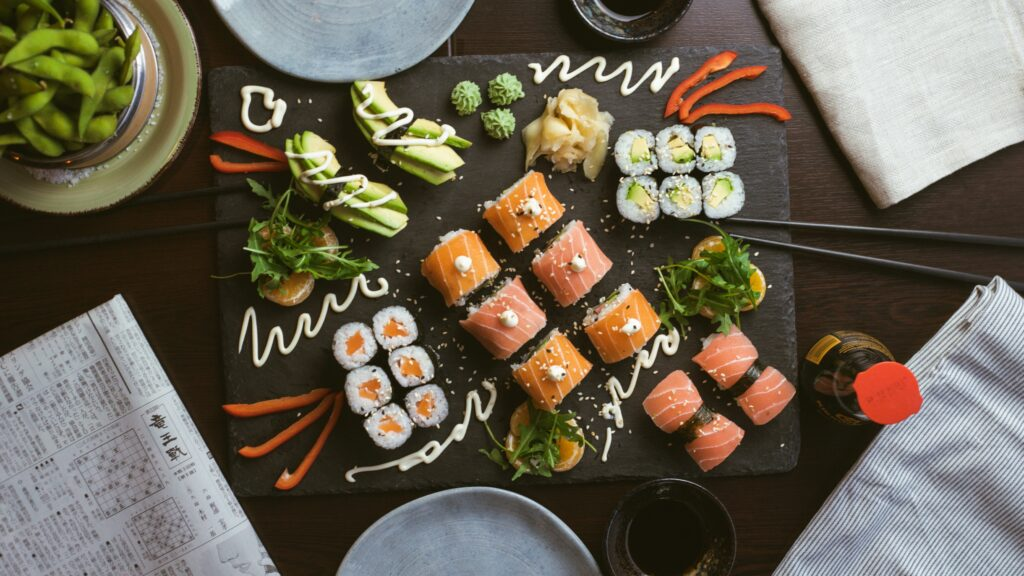 Plate of assorted sushi