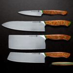 Set of four professional knife sets with silver blades and light wood handles.
